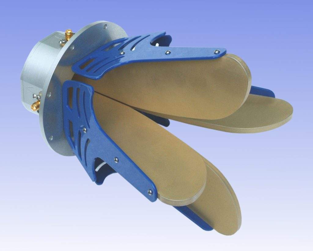 This image contains image of a EMC Antenna. With a light blue background.